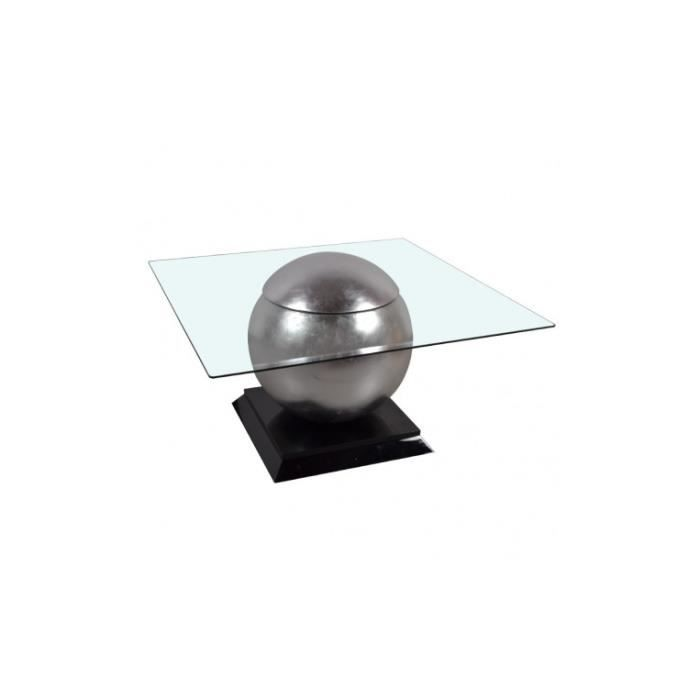 Table basse design verre et acier chromé WORLD
