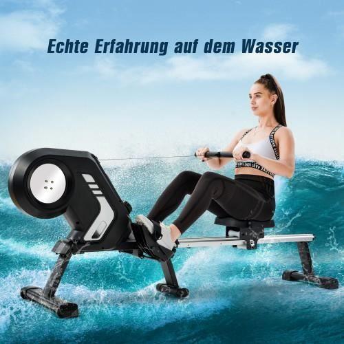 Rameur pliable avec résistance magnétique, écran LCD, pédales antidérapantes et roues de transport pour la salle de gym à domicile,