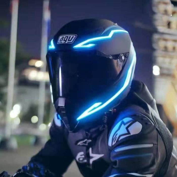 LEEGOAL Bande de lumière casque Barre lumineuse DIY pour casque moto modifié Avec effet d'avertissement sécurité bleu 2