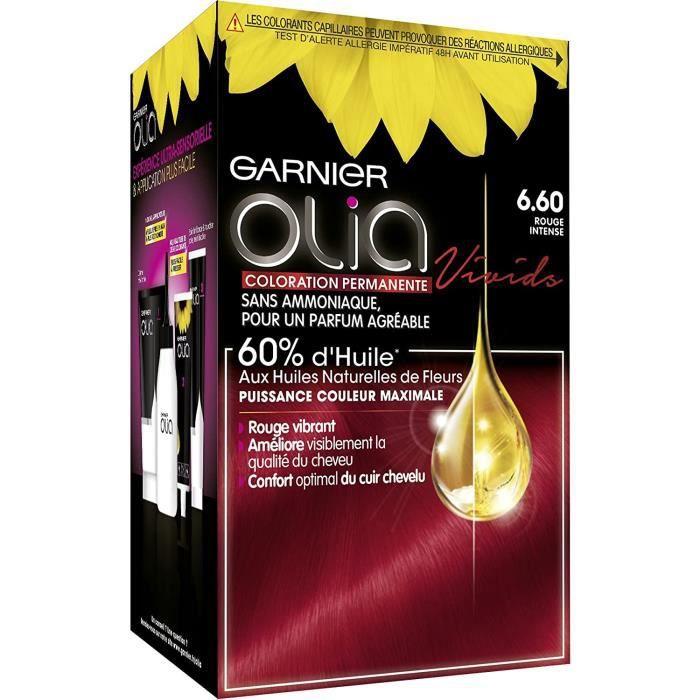 Colorations Garnier - Olia Vivids - Coloration Permanente Intense à l'Huile Sans Ammoniaque Rouge - 6.60 Rouge Intense 635988