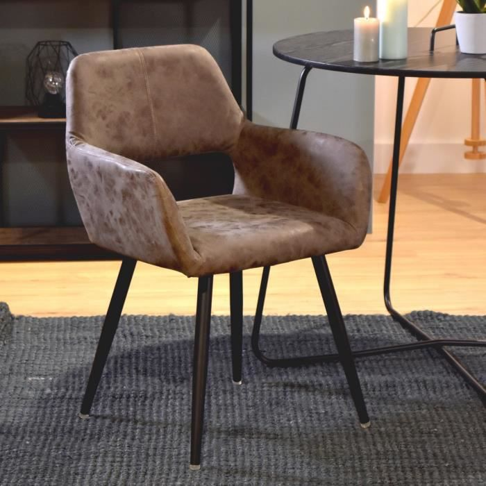 FURNISH1 Faiteuil Chaises Scandinave - Simili PU Vintage Métal Peint Noir - Salle à manger Salon Bureau Chambre