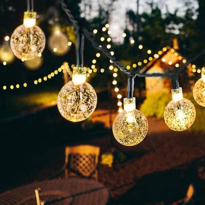 guirlande solaire exterieur Guirlande Solaire Lumineuses Exterieure 50 LEDs, 10 M Guinguette Boules Cristal 8 Modes Etanche Soupl353