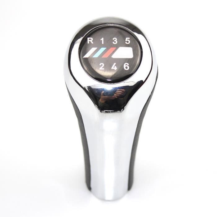 Pièces Auto,Pommeau de levier de vitesse en cuir chromé pour BMW 1 3 5 6 vitesses, BMW série E30 E32 E34 E36 - Type 6 Speed with M1