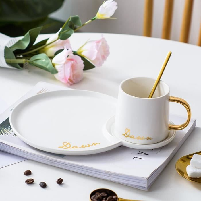 Service à café avec soucoupes,Ensemble De tasse à café européen De luxe en or petit déjeuner soucoupe Mate tasse - Type White-set