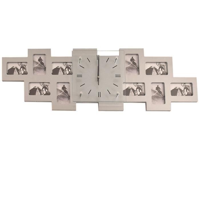 Horloge murale analogique cadres 10 photos décoration heure appartement BHP B991743