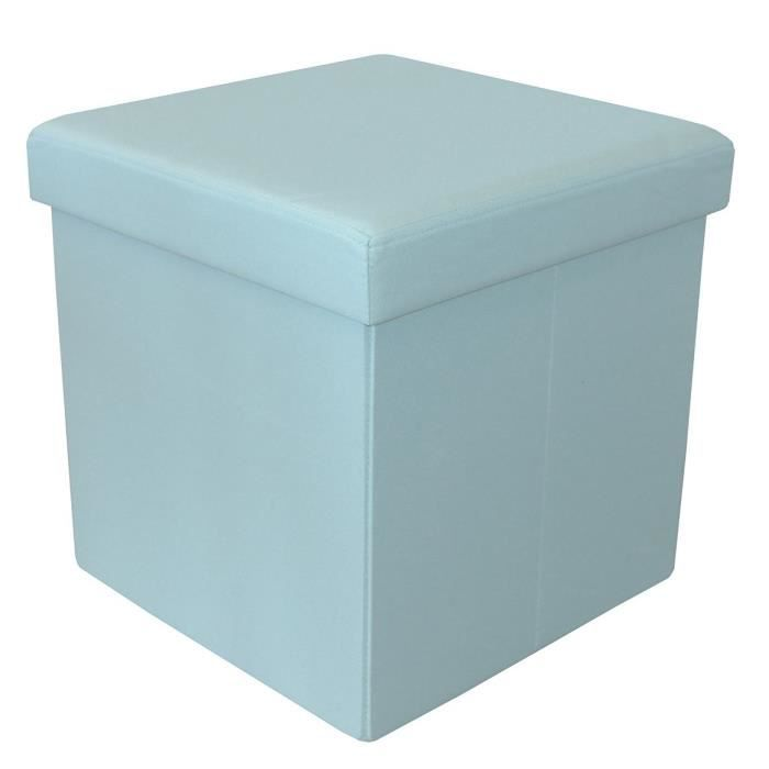 COTTON WOOD Pouf Coffre pliable Oxford - 35 x 35 x 35 cm - Bleu aqua