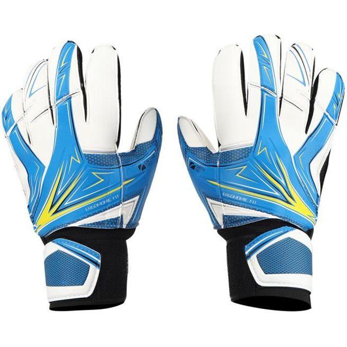 Jielwyshop Une paire de gants de gardien de but de football pour enfants en latex anti-dérapant n ° 6 bleu