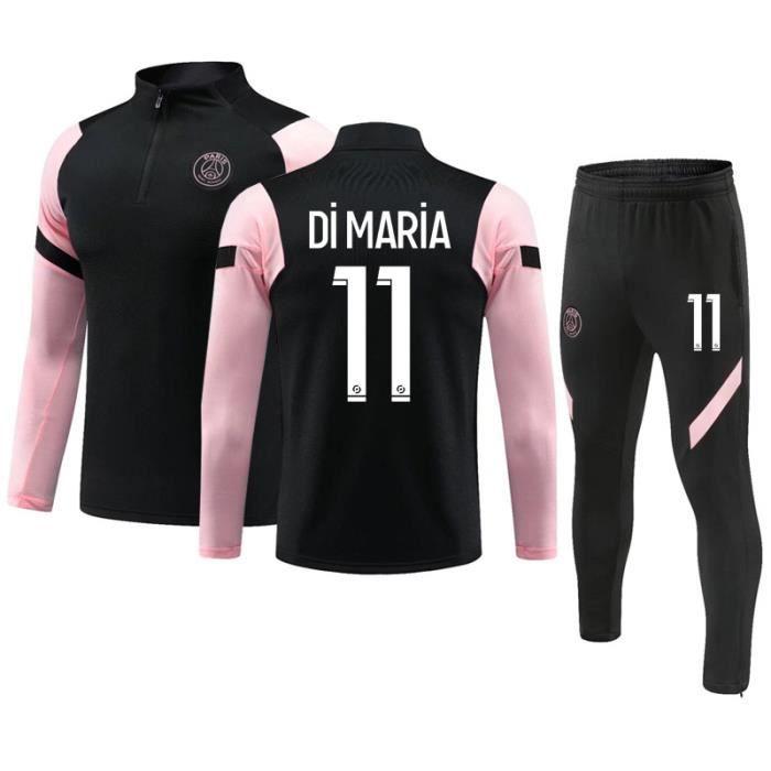 Maillot de Football Paris 2020-2021 Collection de Paris 11 Di maria Survêtement de Entraînement Tenue de Training Noir pour Enfant