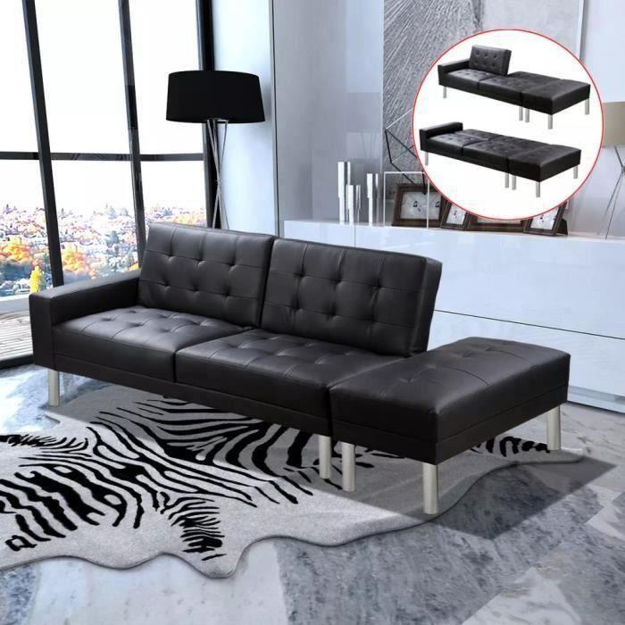 Canapé-lit Cuir artificiel Noir Canapé d'angle convertible Canapé-lit Confortable
