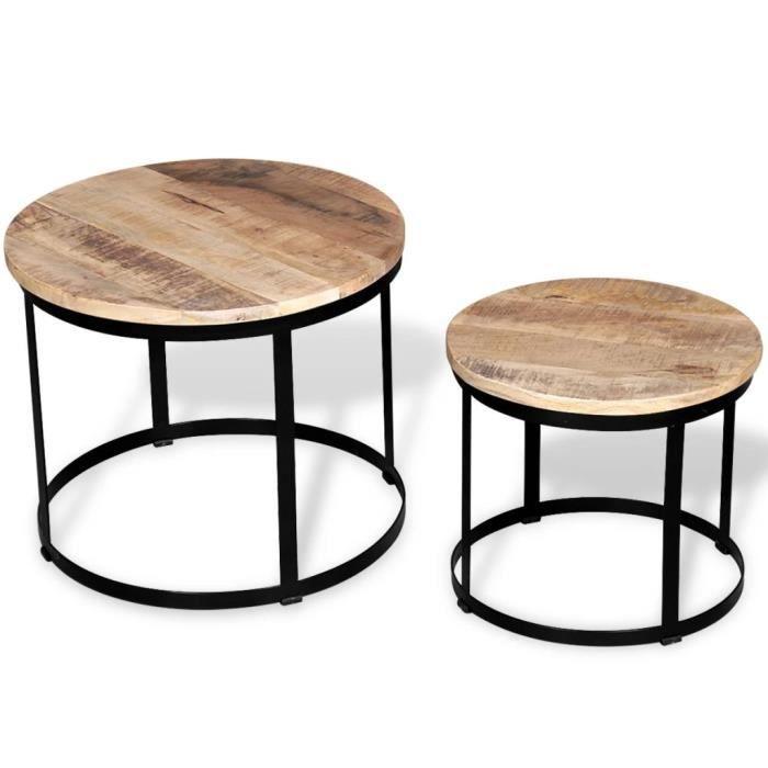2 pcs Table basse Table de Salon Grand+Petit Bois de manguier brut Rond 40-50 cm