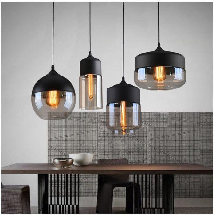 Lot de 4 Lustre en Verre Suspension Luminaire Vintage E27 Noir pour Cuisine Salon Salle à Manger