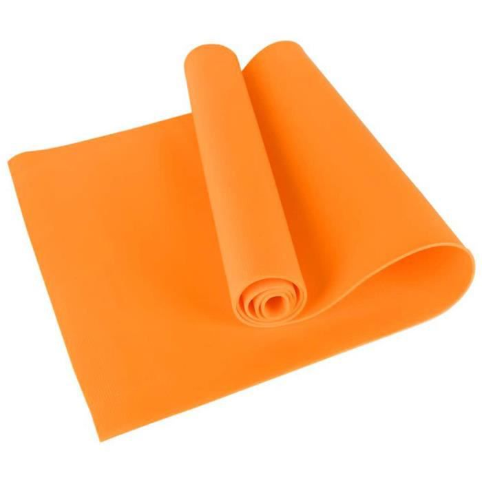 Tapis de Yoga - Tapis de Gymnastique en EVA épais de 4 mm d'épaisseur pour Exercices de Gymnastique - Pilates, Stretching - Orange