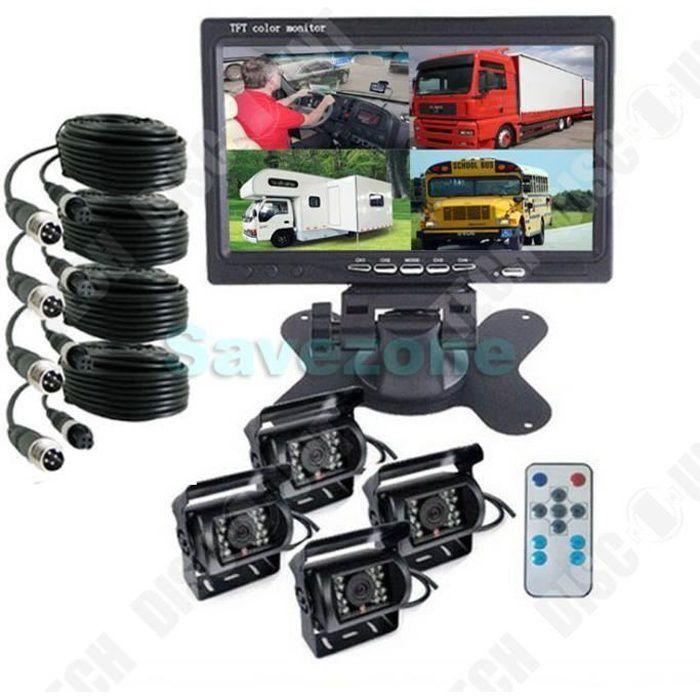 TD® 4x caméra de recul de voiture 4 broches + 7 pouces LCD 4CH moniteur séparé pour 12V - 24V camion bus tracteur 10m 20m câble