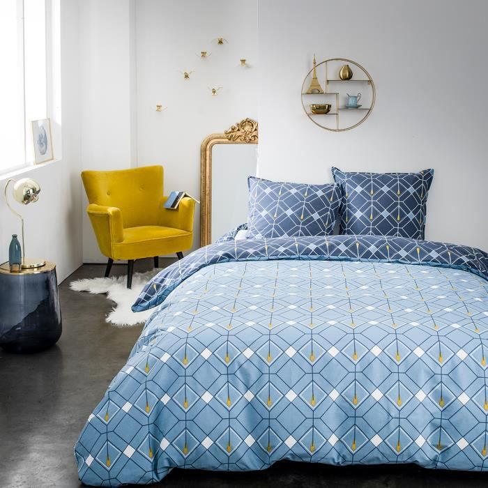 Parure de lit 2 personnes 240X260 Coton imprime bleu Graphique SUNSHINE