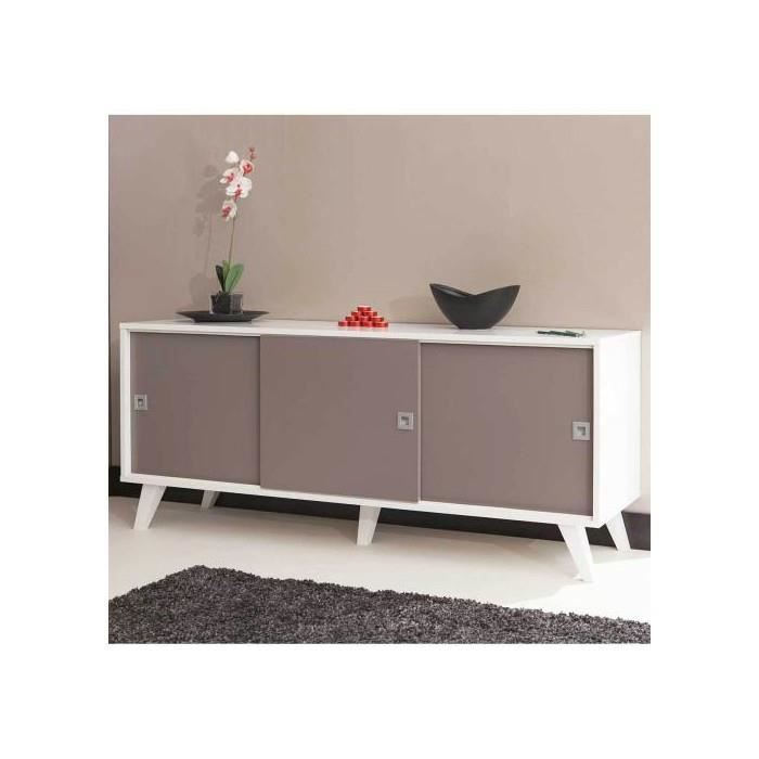 buffet 3 portes coulissantes pieds inclines blanc taupe achat vente buffet bahut buffet 3. Black Bedroom Furniture Sets. Home Design Ideas