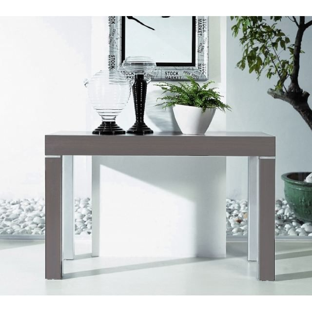 table console extensible stacy gris 5 allonges achat. Black Bedroom Furniture Sets. Home Design Ideas