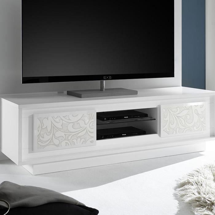 Meuble Tv Design Blanc Laque Serigraphies Erine 4 Achat Vente Meuble Tv Meuble Tv Design Blanc Laque Cdiscount
