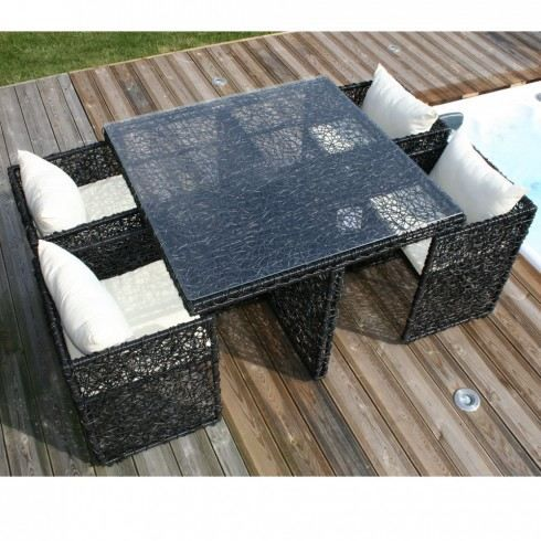 salon de jardin table et 4 fauteuils encastrables achat. Black Bedroom Furniture Sets. Home Design Ideas
