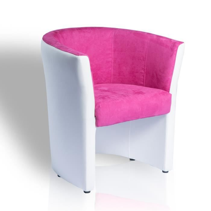 fauteuil cabriolet tissu pvc omer rose blanc achat vente fauteuil blanc tissu pvc. Black Bedroom Furniture Sets. Home Design Ideas