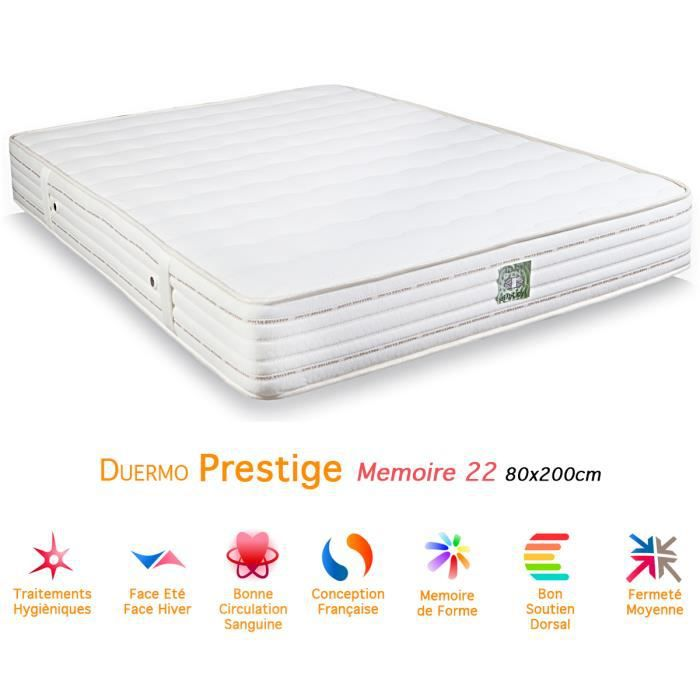 matelas duermo prestige m moire de forme 22 80x200 achat vente matelas cdiscount. Black Bedroom Furniture Sets. Home Design Ideas