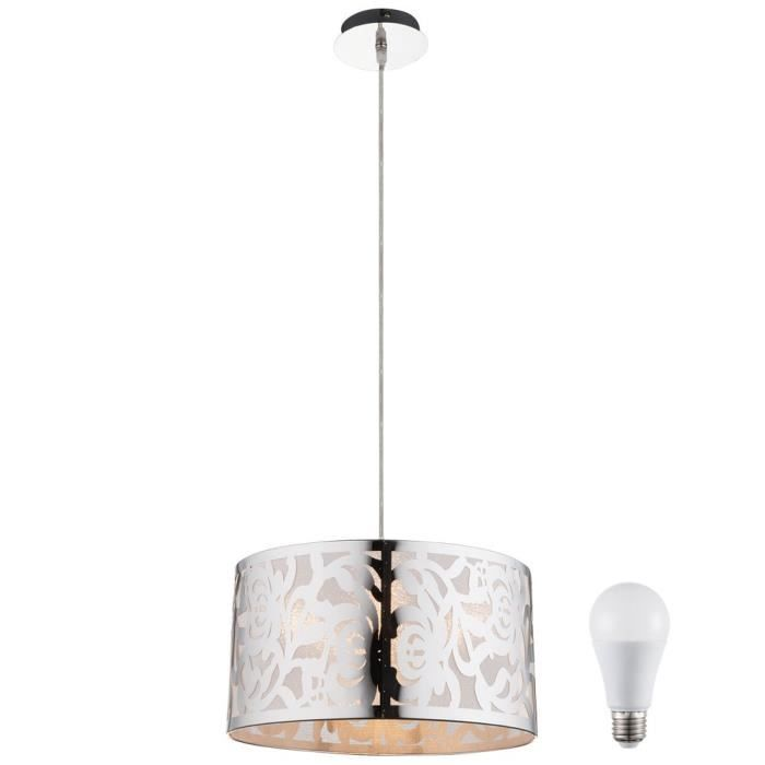 Suspension Lustre Led 12 Watts Luminaire Lampe Inox