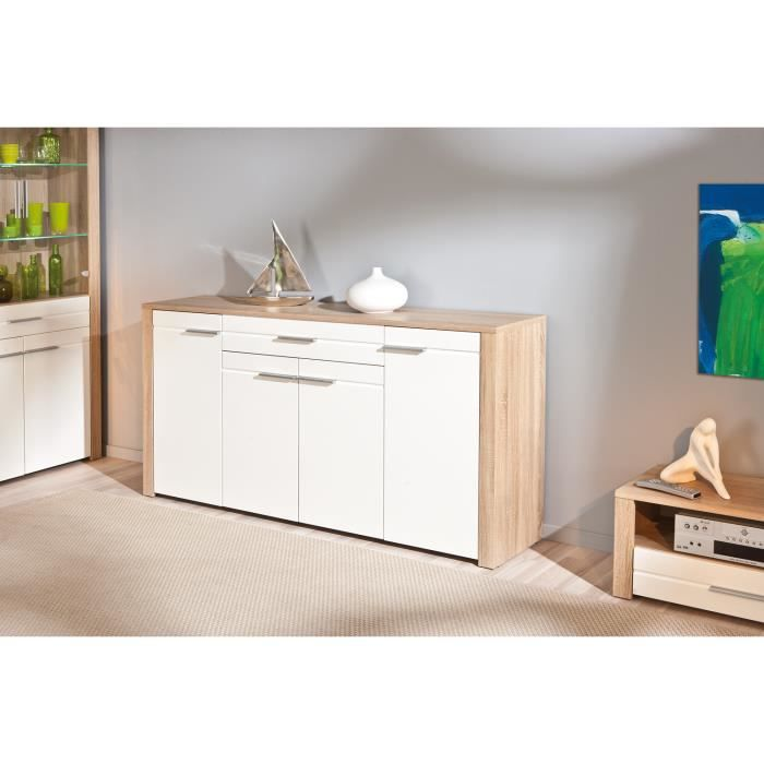 bahut en bois coloris sonoma ch ne et blanc achat. Black Bedroom Furniture Sets. Home Design Ideas