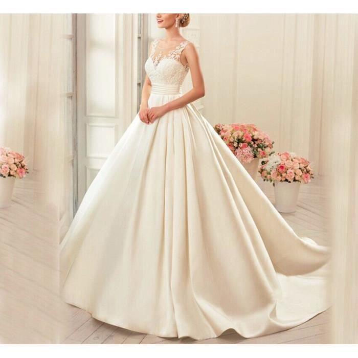 Robe de mariée princesse longue traîne bustier
