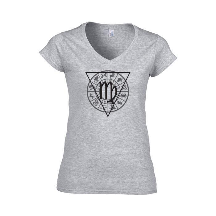 T-shirt Femme col V signe astrologique vierge