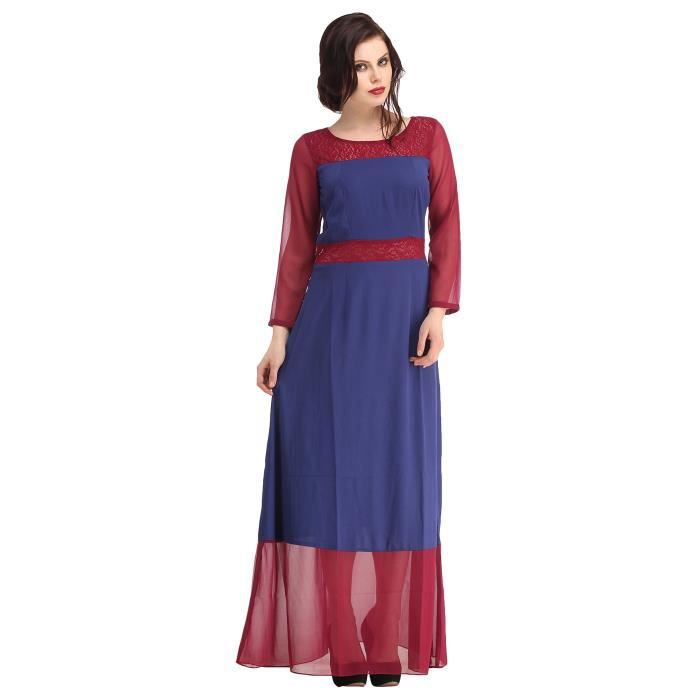 Womens Stylish Maroon Sheer Lace Yoke And Belt W- Maroon Georgette Sleeve & Detailing, Slimming Ev UFCUF Taille-34