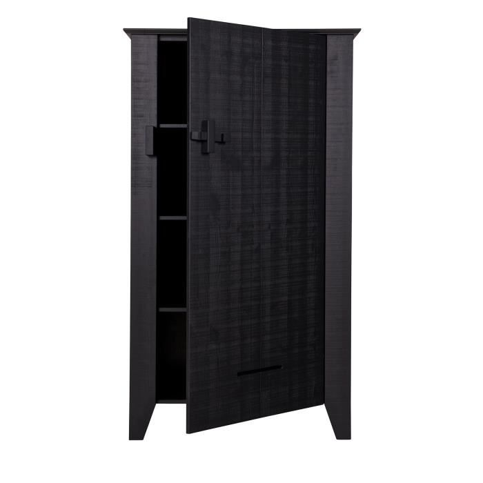 armoire brut de sciage pin noir h 142 x l 85 x p 38 cm achat vente armoire de chambre. Black Bedroom Furniture Sets. Home Design Ideas