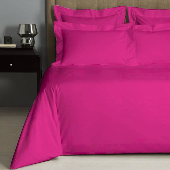 housse de couette uni fushia percale de coton salom prestige 200x200 achat vente housse de. Black Bedroom Furniture Sets. Home Design Ideas