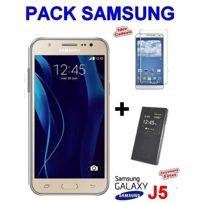 samsung galaxy j5 gold j500 or neuf view cover etui film verre trempe achat smartphone pas. Black Bedroom Furniture Sets. Home Design Ideas