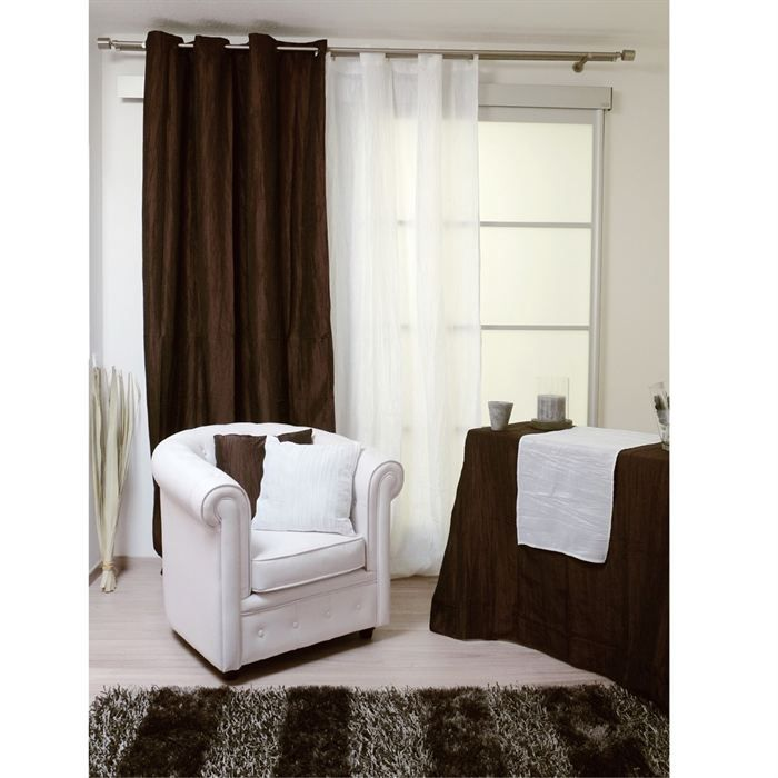 rideaux oeillets bambou chocolat achat vente rideau. Black Bedroom Furniture Sets. Home Design Ideas