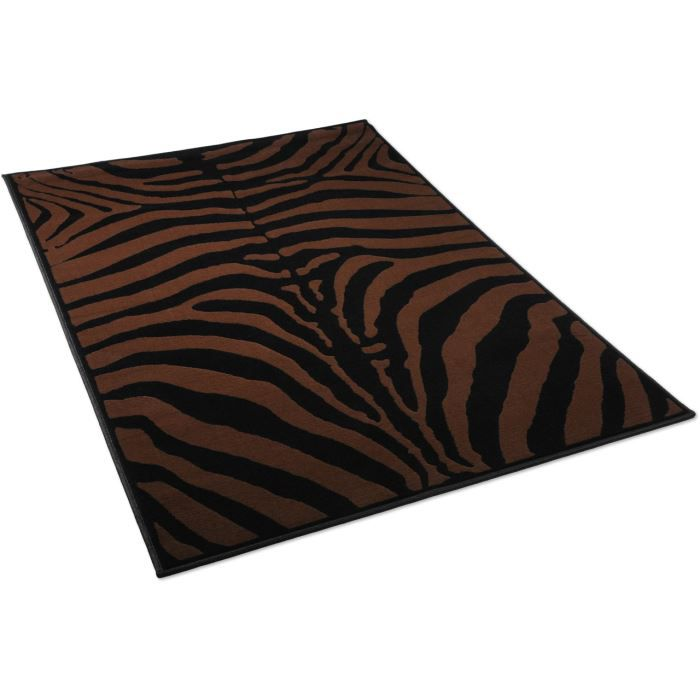 tapis salon zebre noir et marron universol 12 achat vente tapis cdiscount. Black Bedroom Furniture Sets. Home Design Ideas
