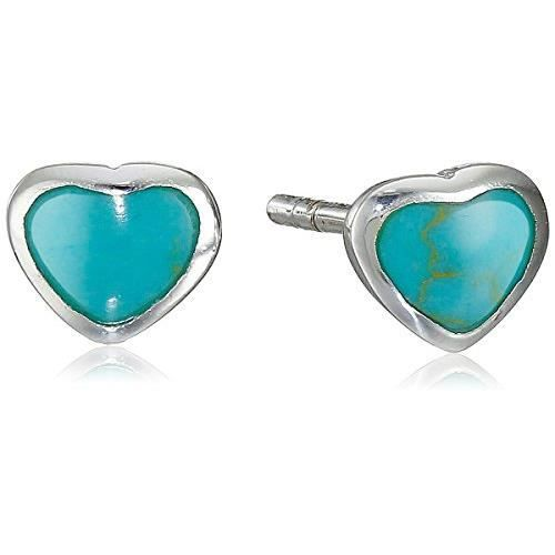 Bling Turquoise Bijoux Coeur Boucles Goujon 925 Argent Sterling