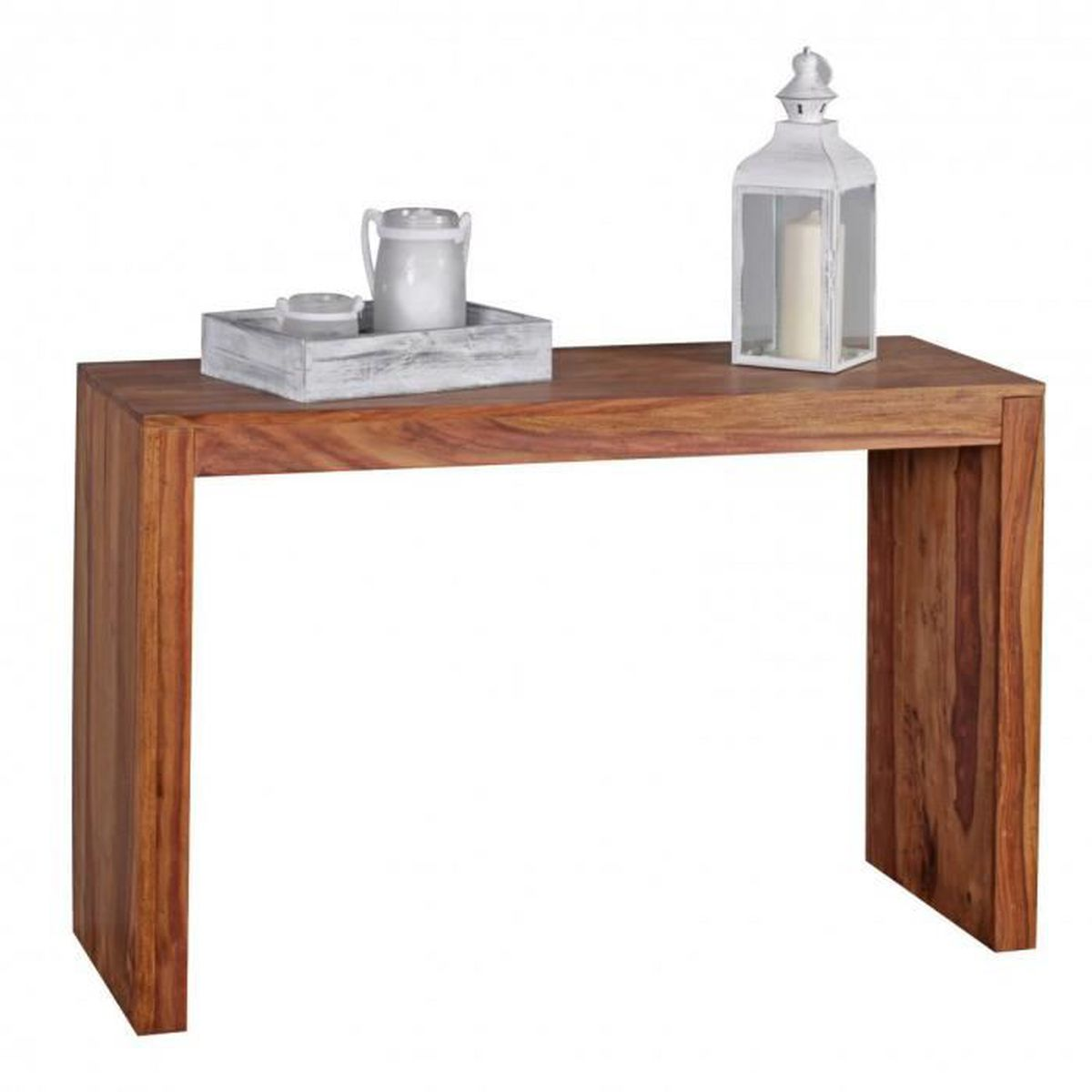 Table console solide en bois sheesham console bureau 115 x for Bureau 40 cm de profondeur
