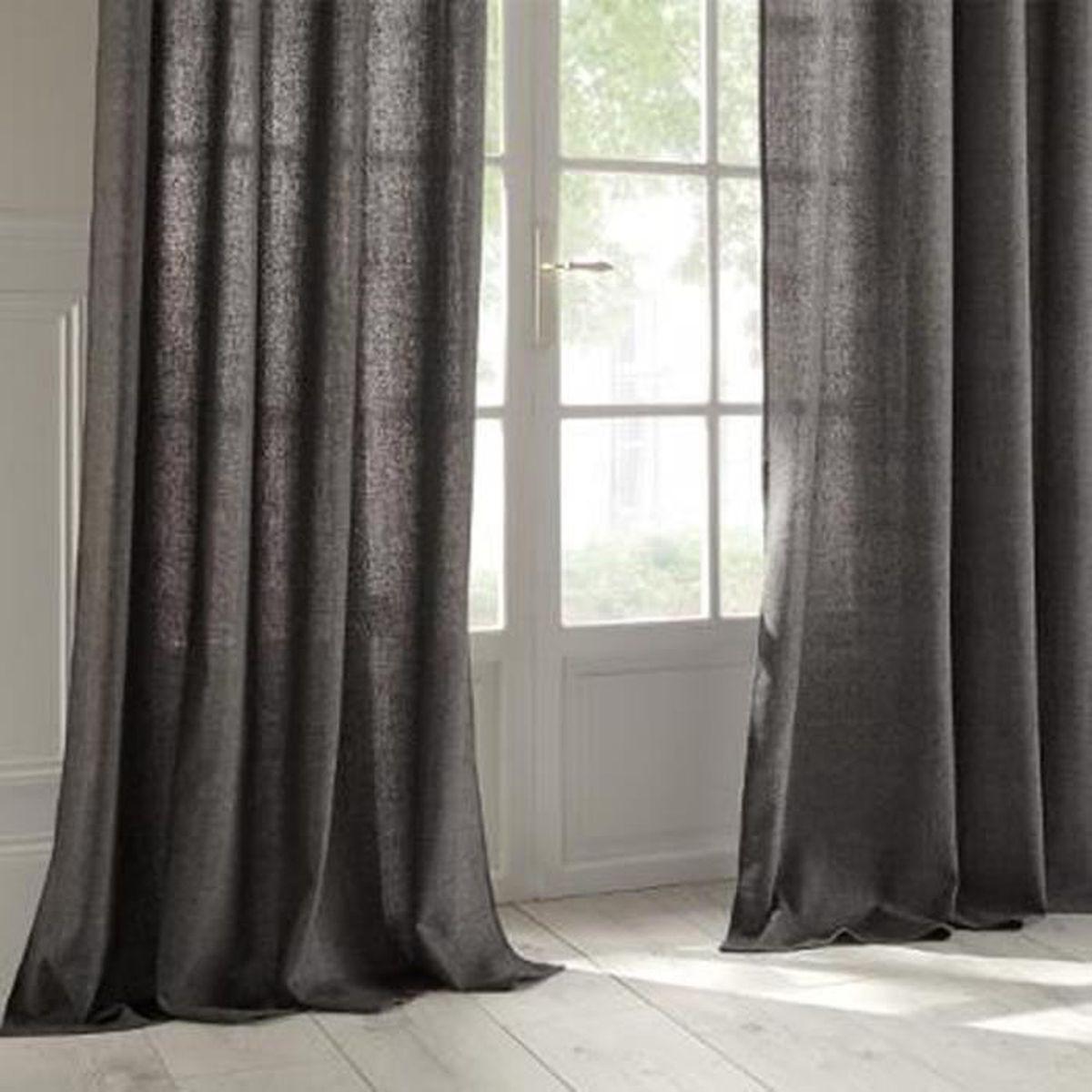 Barre Rideau Fixation Plafond lot de 2 rideaux en lin et polyester coloris gris foncé