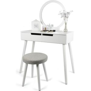 COIFFEUSE Coiffeuse table maquillage 80*40*128cm Miroir rond