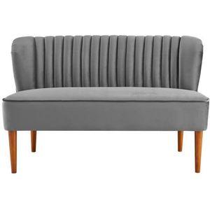 CANAPÉ - SOFA - DIVAN Canapé 2 places en tissu velours gris design JOY