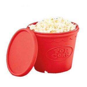 BiuZi 1 Pc Rouge Micro-ondes Silicone Seau /à pop-corn Seau Instantan/é Pratique S/ûr Pliable Popcorn Maker Bol avec Couvercle de Poign/ée Seau /à pop-corn