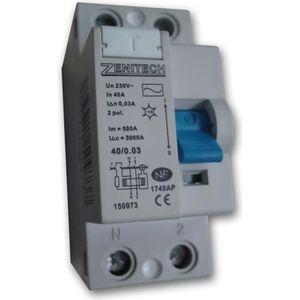 DISJONCTEUR Interrupteur différentiel 40/2 30 mA Type AC Zenit