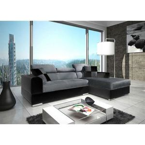 CANAPÉ - SOFA - DIVAN Canapé angle NETO design gris noir