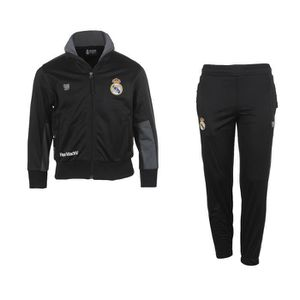 48c00401ddf508 TENUE DE FOOTBALL Survêtement Real Madrid Fan Noir-Gris Junior