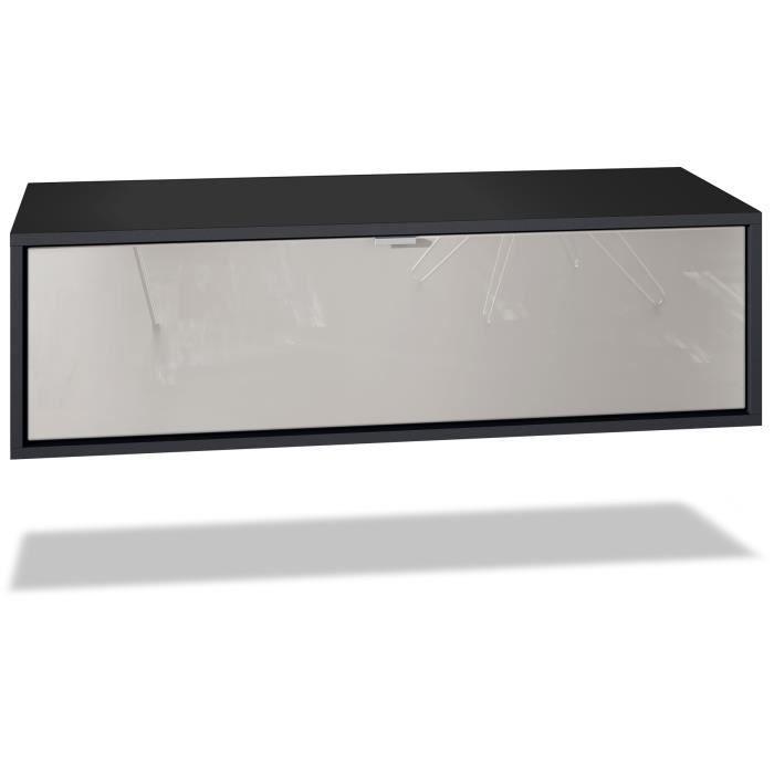 Meuble TV Lana 80 armoire murale lowboard 80 x 29 x 37 cm, caisson en blanc mat, façades en Gris sable haute brillance