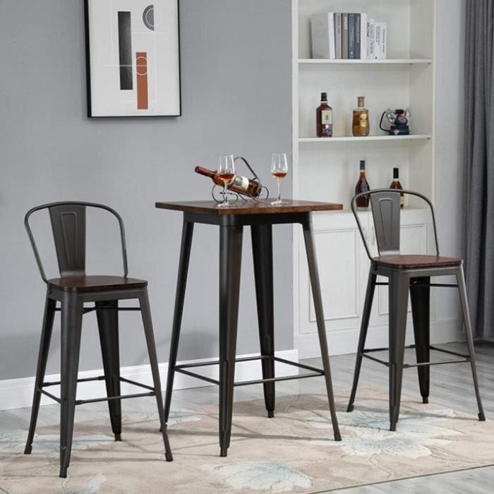 HEK Table Haute Industriel de Bar Table Bistrot Carré Mange-Debout avec Plateau en Bois Pin 60 x 60 x 92 cm