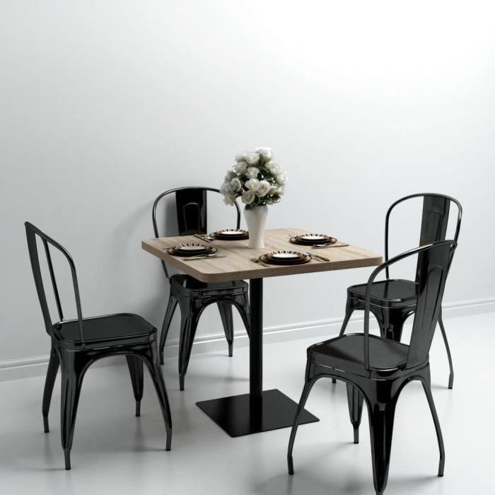 FIHERO Table de bistro MDF et acier Carré 80x80x75 cm Couleur de chêne☻1