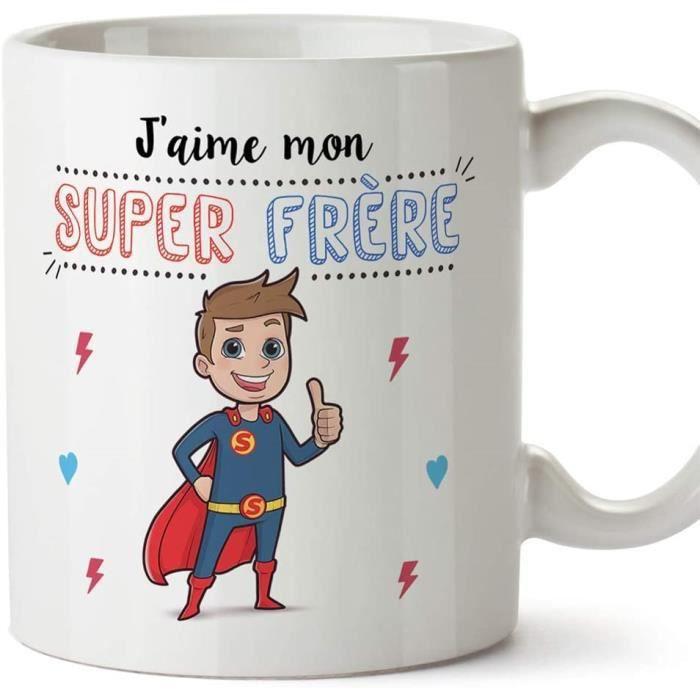 Frère Mug - Tasse – J'aime Mon Super frère – Tasse Originale - Cadeau Anniversaire. Céramique 350 ML 1