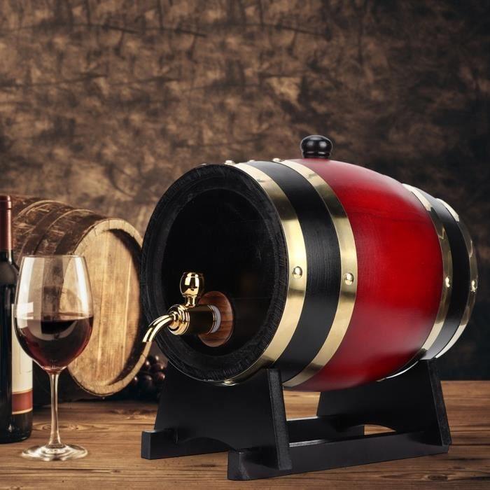 Distributeur de seau de baril de vin en bois de baril de chêne vintage 3L (vin rouge 3L)-ROS
