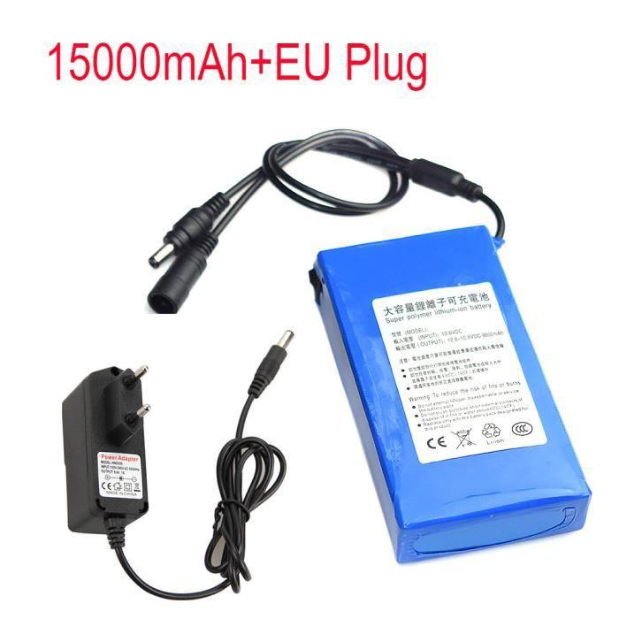 DC 12V 15000mAh Super Rechargeable Li-ion Batterie au Lithium Pack + Plug UE
