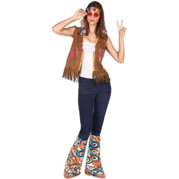 Kit accessoires hippie rétro adulte - Coloré